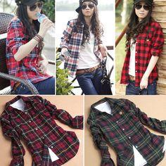 Botão de algodão Mulheres Casual lapela Mantas Verifica flanela camisa Top Blusa
