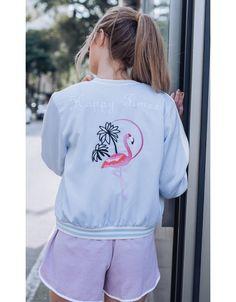 Jaqueta Bomber Flamingos Azul - Primareva Verão 18 - tendências de moda - <3 FAshion - trends