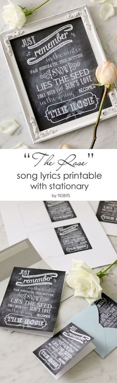 THE ROSE song lyrics free printable with stationary options.