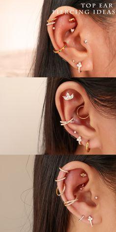 Pretty Ear Piercings, Ear Peircings, Multiple Ear Piercings, Ear Jewelry, Cute Jewelry, Body Jewelry, Arrow Earrings, Cartilage Earrings, Lobe