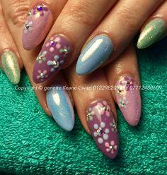 Pastel mermaid acrylic nails, flower / Daisy nails art with Swarovski crystals