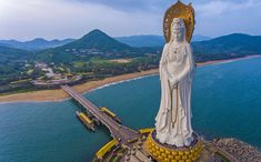 The Guanyin of Nanshan, photographed on October in Sanya, Hainan, China. The statue, completed in measures 256 feet meters) tall. Hangzhou, Shenzhen, Beijing, Shanghai, Places To Travel, Places To Visit, Haikou, Wuxi, Big People