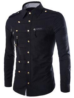 $14.03 Solid Color Long Sleeves Men's Zip Design Shirts
