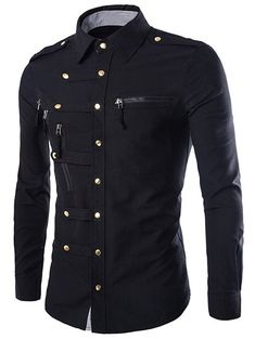 $14.03 Solid Color Long Sleeves Men's Zip Design Shirts