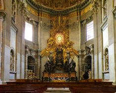 Gian Lorenzo Bernini, et al, The Apse of St. Peter's Basilica, by Gian Lorenzo Bernini 1653, Italian Baroque. Commissioned by Pope Urban VIII. St. Peter's Basilica, Vatican City.