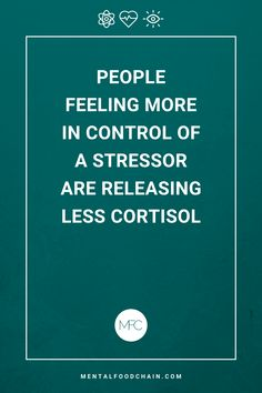 People feeling more in control of a stressor are releasing less cortisol. Stress Free, Stress Relief, Work Quotes, Life Quotes, Quotes Inspirational, Motivational Quotes, Balancing Hormones, High Cortisol, Stress Control