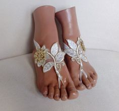 free ship bridal anklet ivory gold flower lace by GlovesByJana Bare Foot Sandals, Gold Flowers, Anklet, Barefoot, Costume Ideas, Ivory, Ship, Bridal, Trending Outfits