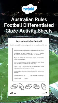 A differentiated cloze activity / activities for students to show their knowledge of Australian Rules Football and their comprehension skills. Cloze Activity, Activity Sheets, Australian Football League, Differentiation, Comprehension, Worksheets, Texts, Students, Knowledge