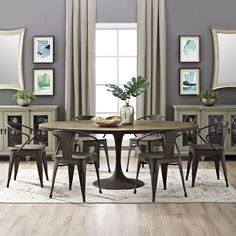 Decorate your home with this beautiful and stylish Drive Oval Dining Table. It has an off-white finish that will be a hit with your friends and family. You will be able to enjoy the feel and look that this table possesses.