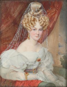 Miniature Portrait of a Lady 1832 painted on ivory by Austrian Painter Carl von Saar 1797-1853