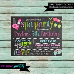 Printable Spa Chalkboard Ticket Birthday Invitation Manicure and