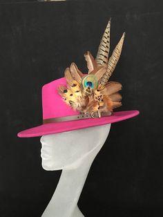 ARABELLA Ladies Pink Wool Felt Trilby with Pheasant Feather Trim - Perfect  for Cheltenham Races a57f2f5bc0d5