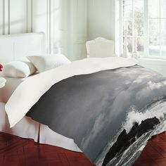 """""""White Water"""" - Duvet Cover  bedding for small reading room guest room"""