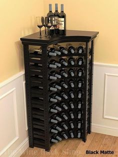 Corner Wine Rack With Tabletop - Wood wine storage rack for .- Corner Wine Rack With Tabletop – Wood wine storage rack for 45 bottles in Mahogany, Cherry, Black, Rich Tobacco, Antique Slate finishes - Wine Rack Cabinet, Wine Rack Storage, Diy Wine Racks, Wine Rack Wall, Tv Storage, Record Storage, Corner Wine Rack, Corner Wine Cabinet, Wine Rack Inspiration