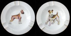 2 Vintage Porcelain Ashtrays with Dogs Boxer by TheTinRoofCottage, $12.00 Use Coupon Code SALE4 for 10% off