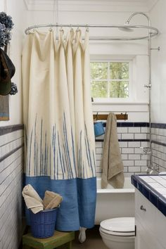 Dropcloth decor: A canvas shower curtain
