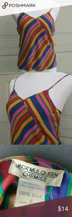 "Vintage 80s Jack Mulqueen Silk Camisole Top Pink, yellow, green, red, purple diagonal pops of color. Spaghetti straps. This is a tiny camisole. Bust 15"", length 21"". By Jack Mulqueen 100% Silk Vintage Tops Camisoles"