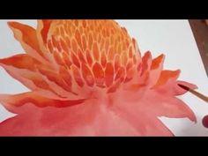 Flower Drawings Techniques How to paint Dahla flower - Watercolor Flowers Tutorial, Watercolor Video, Watercolor Painting Techniques, Watercolor Projects, Watercolour Tutorials, Painting Lessons, Watercolor And Ink, Art Lessons, Watercolor Paintings