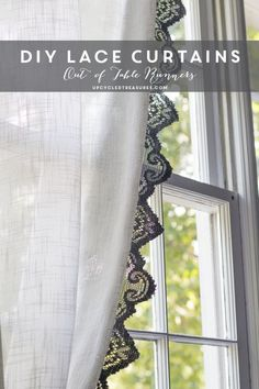How to make Anthropologie Inspired Lace Curtains using lace table runners | UpcycledTreasures.com #upcycle #DIY #curtains