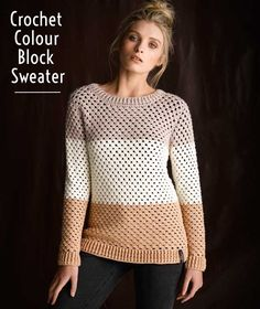 Create a Crochet Colour Block Sweater with this how-to! | Crochet Pattern | Crochet project | Crochet Fashion