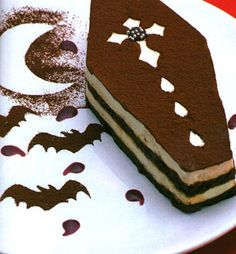 Coffin shaped tiramisu cake. *Drools* OH....MY.....GOODNESS! I HAVE to have this at the Halloween themed wedding!