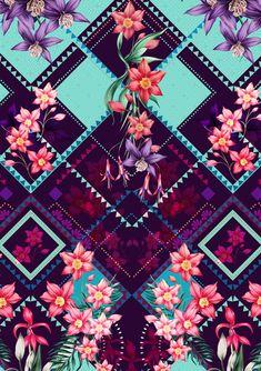 Estampa geométrica com flores                                                                                                                                                      Mais