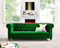 Bright Green Sofa with Colorful Pillows