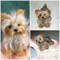Needle felted Dog ~ Custom Pet Portrait ~ Yorkshire Terrier Scamp by Gourmet Felted