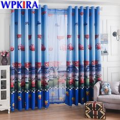 Window Car Curtain Living Room Boys Children Cartoon Blue Curtains Sheer Child Tulle Curtain Bedroom Kids Cortina Para Sala 30 How to Choose the Processing Tulle Curtains, Kids Curtains, Window Curtains, Boy Girl Bedroom, Boy Room, Bedroom Kids, Cheap Window Treatments, Window Types, Blue Rooms