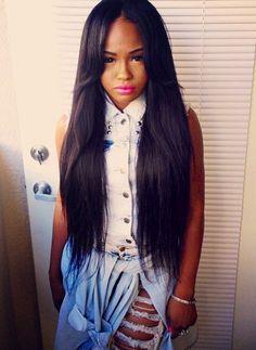 long black hair weave styles