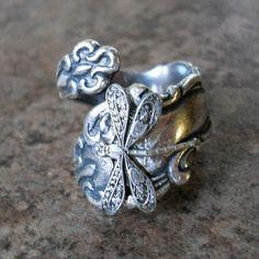 Silverware Jewelry, Spoon Jewelry, Spoon Rings, Hand Jewelry, Dragonfly Jewelry, Silver Spoons, Silver Gifts, Filigree Ring, Vintage Diamond