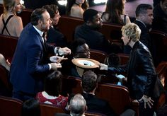 Pin for Later: The 55 Best Pictures From Last Year's Oscars!  Kevin Spacy was one of many stars who contributed to the pizza guy's tip that Ellen collected in Pharrell's hat.
