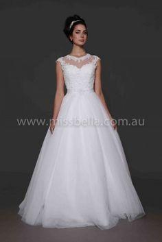 Cheap Wedding Dresses Melbourne #debdress #deb #debutante #illusionneckline #lace #bling