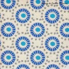 Papier indien origami et encadrement - papier d'Inde, étoiles grises et astérisques stylisées azur et bleu royal : Origami par nature-de-carton