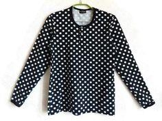 MARIMEKKO Polka Dot Shirt Black & White Dotted Top Cotton Shirt Long Sleeves S Size Shirt Women's Marimekko Clothing Finnish Clothing by Vintageby2sisters on Etsy