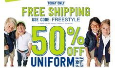 Crazy 8: 50% off School Uniforms + Free Shipping (today only!)  Today only, you can get 50% off School Uniforms + Free Shipping from Crazy 8.  Be sure to use coupon code FREESTYLE to get free shipping.  If you're looking for qualify, durable uniforms, I'd highly recommend checking out this sale.