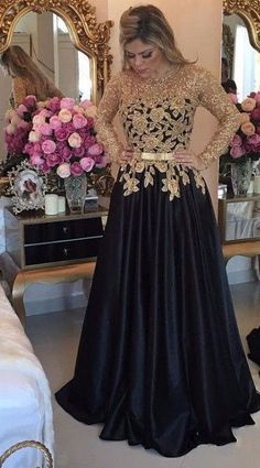 Elegant Long Sleeves Black Prom Dresses, Long Evening Dresses With Gold Appliques CR 1082 Prom Dresses Long With Sleeves, Black Prom Dresses, A Line Prom Dresses, Trendy Dresses, Fashion Dresses, Girls Dresses, Dress Prom, Dress Black, Black Gown With Sleeves