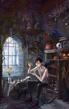 ace-of-pentacles:  fairyhaired:  viria:  oncelerfuckingmagic:  beastlyart:  alliartist:   The Witch's Son by ~Auroaronkitten  I like this a lot. You always see things like the witch's daughter. This is more interesting to me, since it's rarely done!  Holy details, wow. WOW.  wow  this is literally one of my favourite drawings ever  I could spend hours looking at all the tiny details in this piece of art   Love love love love love