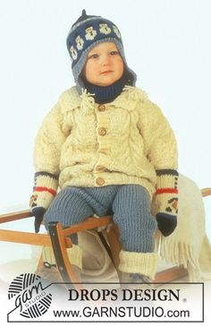 DROPS jacket with cable pattern, pants, hat, mittens, socks and neck warmer in Karisma Free pattern by DROPS Design.