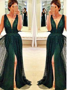 New Prom dresses, Long custom prom dresses, Dark-Green prom dress, Front-Split prom dress, Sexy prom dress. PD21220