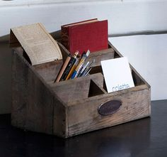 Repro Vintage Wooden Desk Organizer Pen And Note Holder This Product Is Available Through