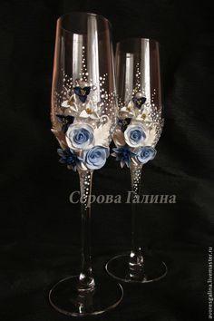 Свадебные аксессуары ручной работы. Ярмарка Мастеров - ручная работа Свадебные бокалы сине-голубые. Handmade.