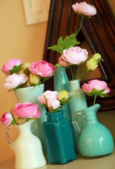 Paint the insides of glass jars and bottles-cute!
