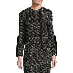 Agnona Wool & Mink Jacket (13,545 ILS) ❤ liked on Polyvore featuring outerwear, jackets, mink jacket, wool jacket, biker jacket, mink fur jacket and long sleeve jacket