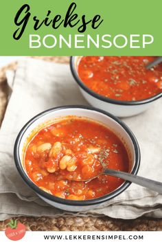 Greek bean soup - quickly ready! - Tasty and Simple - Greek bean soup. A tasty vegetarian soup with beans, carrot and tomato cubes. Healthy Recipes On A Budget, Healthy Pasta Recipes, Healthy Pastas, Soup Recipes, Vegetarian Soup, Vegetarian Recipes, Lchf, Fast Easy Dinner, Breakfast Lunch Dinner