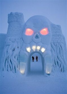 The cartoon-themed SnowCastle of Kemi by the Gulf of Bothnia in Finland is the biggest snow fort in the world and is rebuilt each winter