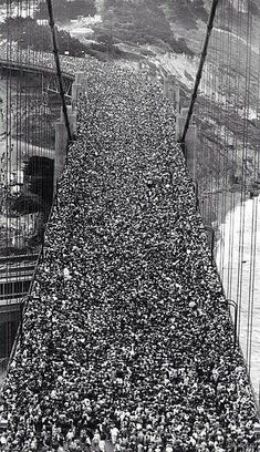 Golden Gate Bridge opening day 1937.