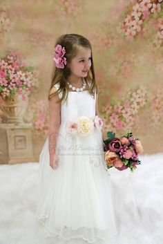 a60a0e443 SIZE 6 IN STOCK - KD - Mini-me Girls Wedding Gown with Floral Waistband.  Ruffles & Bowties Bowtique