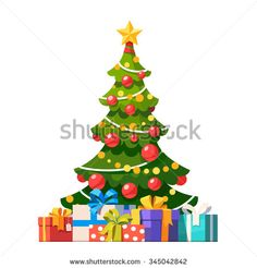 Star, decoration balls and light bulb chain decorated christmas tree with lots of gift boxes. Flat style vector illustration isolated on white background. - stock vector