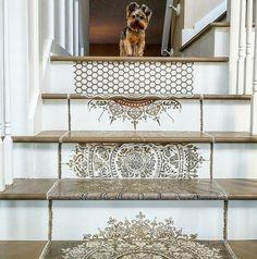 Easy DIY Design Ideas Using Mandala Wall Stencils on a Staircase! #homedecor #interiordesign #diy